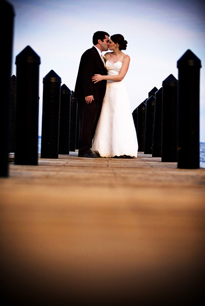 Kristen and Nat on the Pier at CBF after their wedding ceremony
