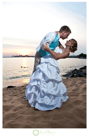 Katie and Matt on the beach after their Chesapeake Bay Beach Club Wedding
