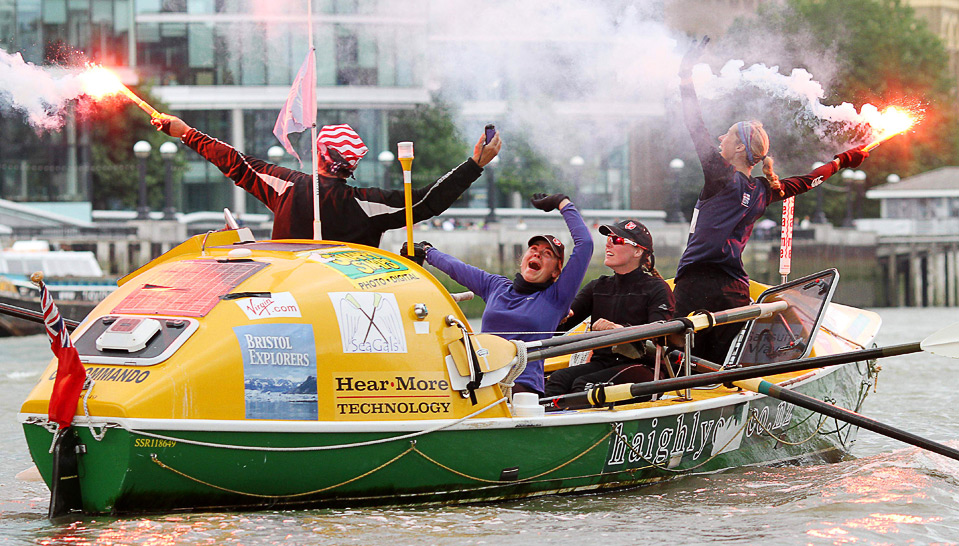 Pictured is Explorers Connect founder Belinda Kirk and her teammates who became the first women to row around Britain in 2010.