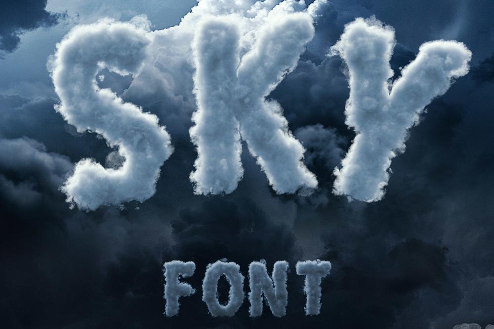 3D Sky / Cloud font [8$]