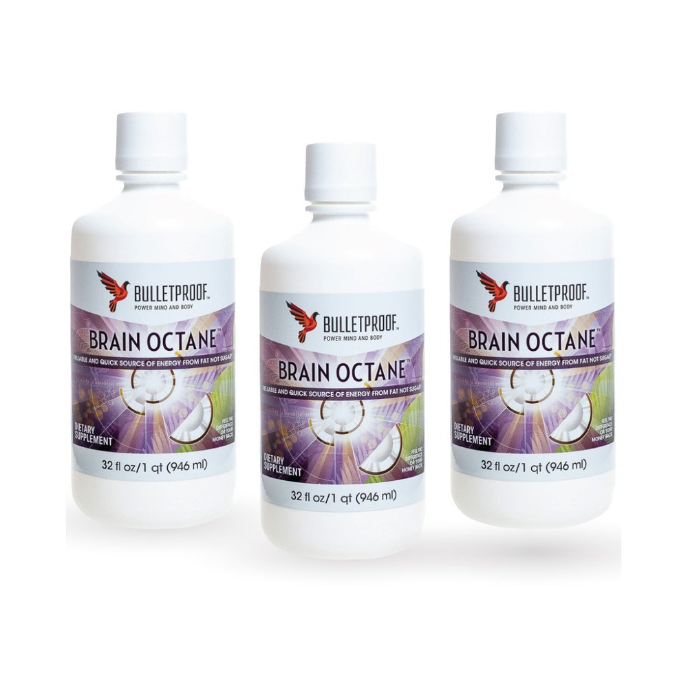 Brain octane oil - 3pck  -reliable and quick source of energy from fat not sugar -helps your body burn fat -supports cognitive performance -quality fats that don't weigh you down -distilled from 100% pure coconut oil