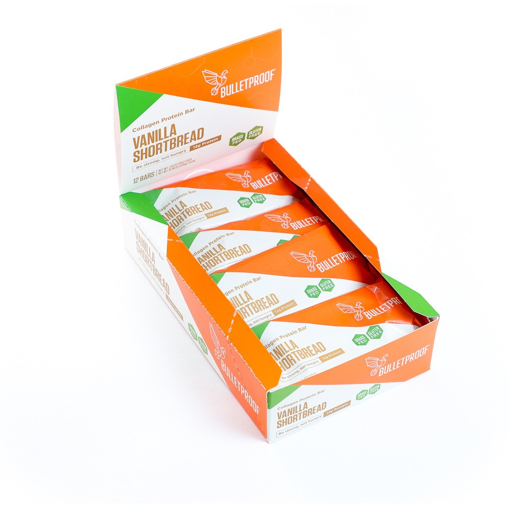 vanilla shortbread collagen protein bars (12 pck)  -Quality fat from brain octane oil and xct oil to keep you full and focused -collagen from grass-fed cows -gluten free