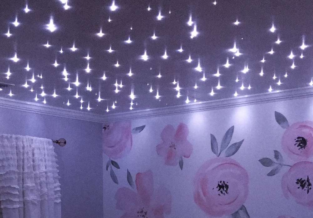 The completed baby room. Stars, flowers and all!