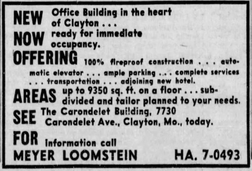 """NEW office building in the heart of Clayton,"" St. Louis Post Dispatch, 1958,  Newspapers.com"