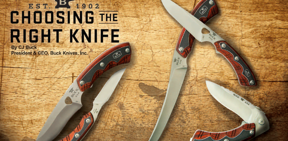CHOOSING THE RIGHT KNIFE    When determining the right type of hunting knife, first identify the type of animals you plan to hunt and any other limiting circumstances your particular hunt may dictate to you. Will you be deep into the field where skinning and quartering will be necessary before transporting your game, or will you have road access right to your kill? Will you be caping out your trophy or delivering directly to the taxidermist? Will you be involved in dozens of wilderness situations where heavy-duty chopping may come in handy?