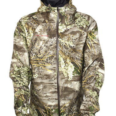 Core 4 Element's Torrent jacket protects hunters from moisture, which can sap heat and ruin your hunt. This rain jacket is very light and extremely quiet, so you won't scare game.