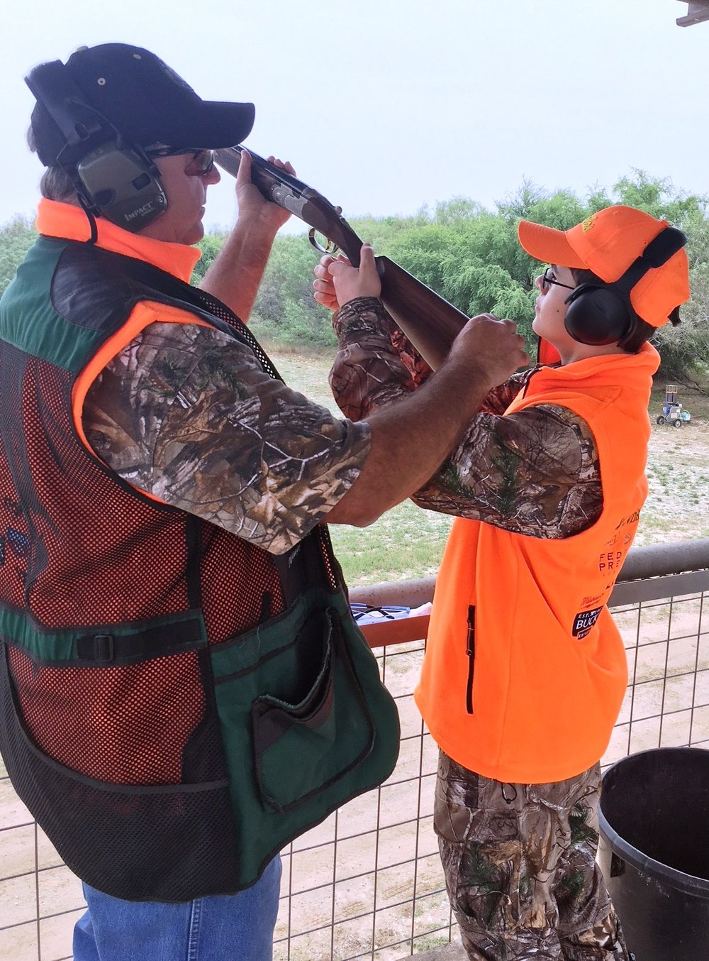 - The Texas Parks and Wildlife Department's South Texas Hunter Education Specialist, Brock Minton, teaches shotgun skills on the Hixon's sporting clays course between the morning and afternoon hunts as part of the Heritage Hunt.