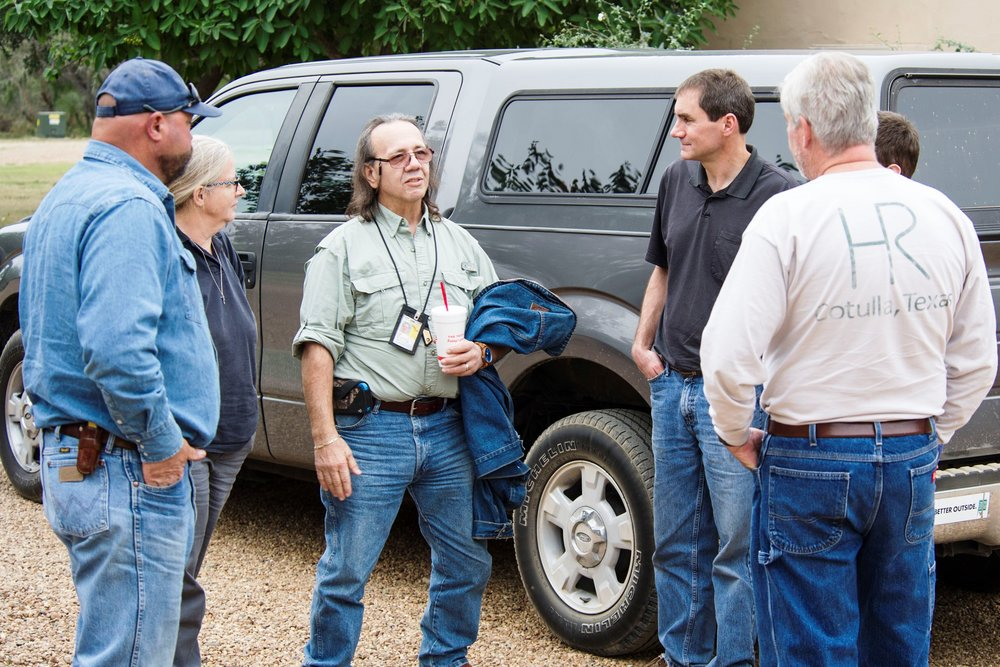 - The Pezzis, FL, and Fraleys, MI, introduce themselves to Timo Hixon (right), ranch owner, and Mike Hehman (left), ranch manager, as they arrive at the Hixon Ranch near Cotulla, Texas between San Antonio and Laredo in South Texas.