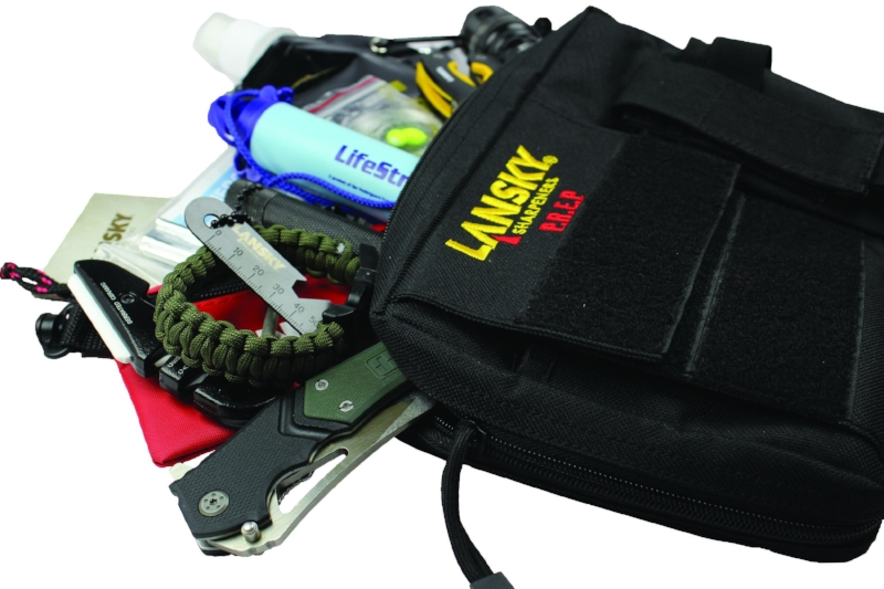 This year Lansky is introducing their PREP (Preparedness Resource Equipment Pack) which includes essentials like a LifeStraw water filter, emergency blanket, Lansky multi-tool, firestarter, and much more. It's a conveniently-sized pack that's perfect for carrying in a vest. (www.lansky.com)