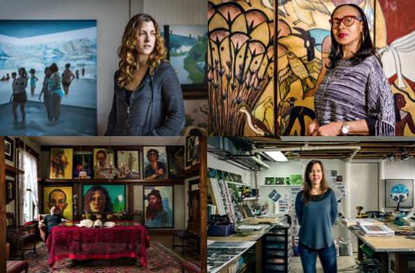 Above are Evanston artists photographed in their studios by Chris Bradley. Left to right Jennifer Presant, Fran Joy, Joe Taylor and Heather Hancock.