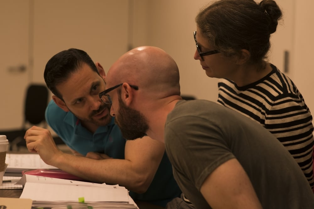 ALT's Founder Lawrence Edelson with composer Jeremy Howard Beck and librettist Stephanie Fleischmann during the 2013 workshop of  The Long Walk .