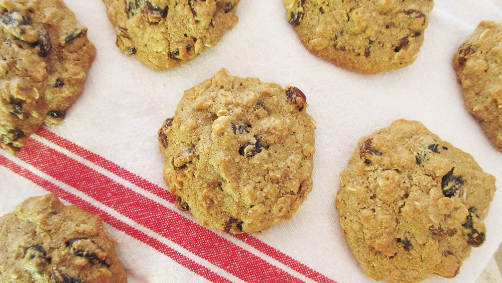 oatmeal raisin cookies on dish cloth.jpg