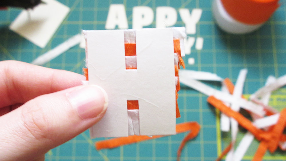 Showing the back of the letter H for the DIY Pinata Letters Cake Topper Tutorial