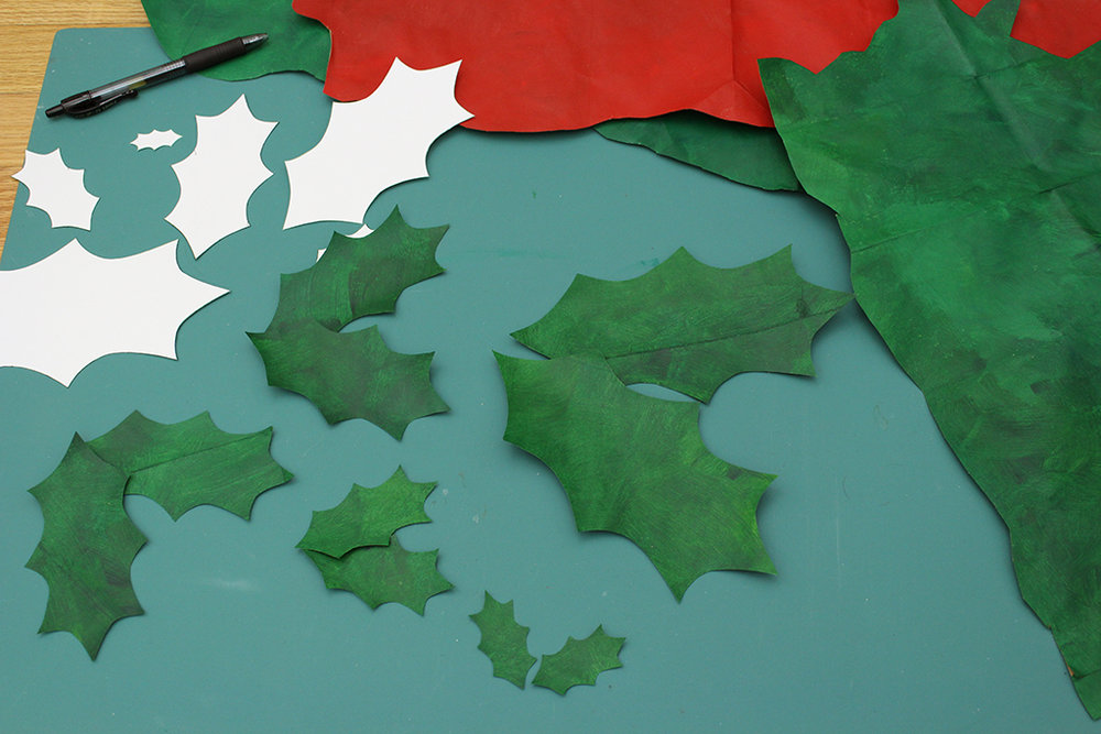 All the holly leaves are cut out