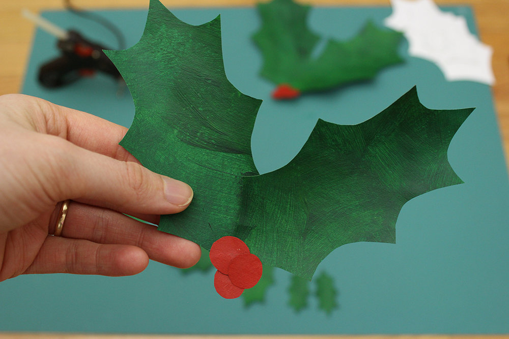 Finished DIY Paper Bag Christmas Holly Leaf Decoration