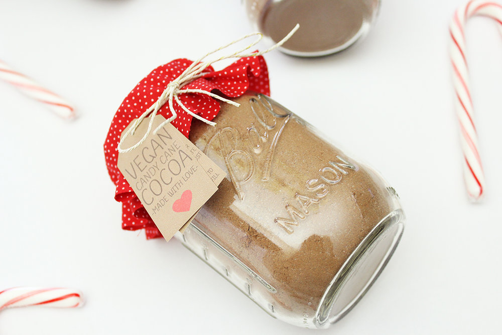Vegan Candy Cane Cocoa Mix Jar