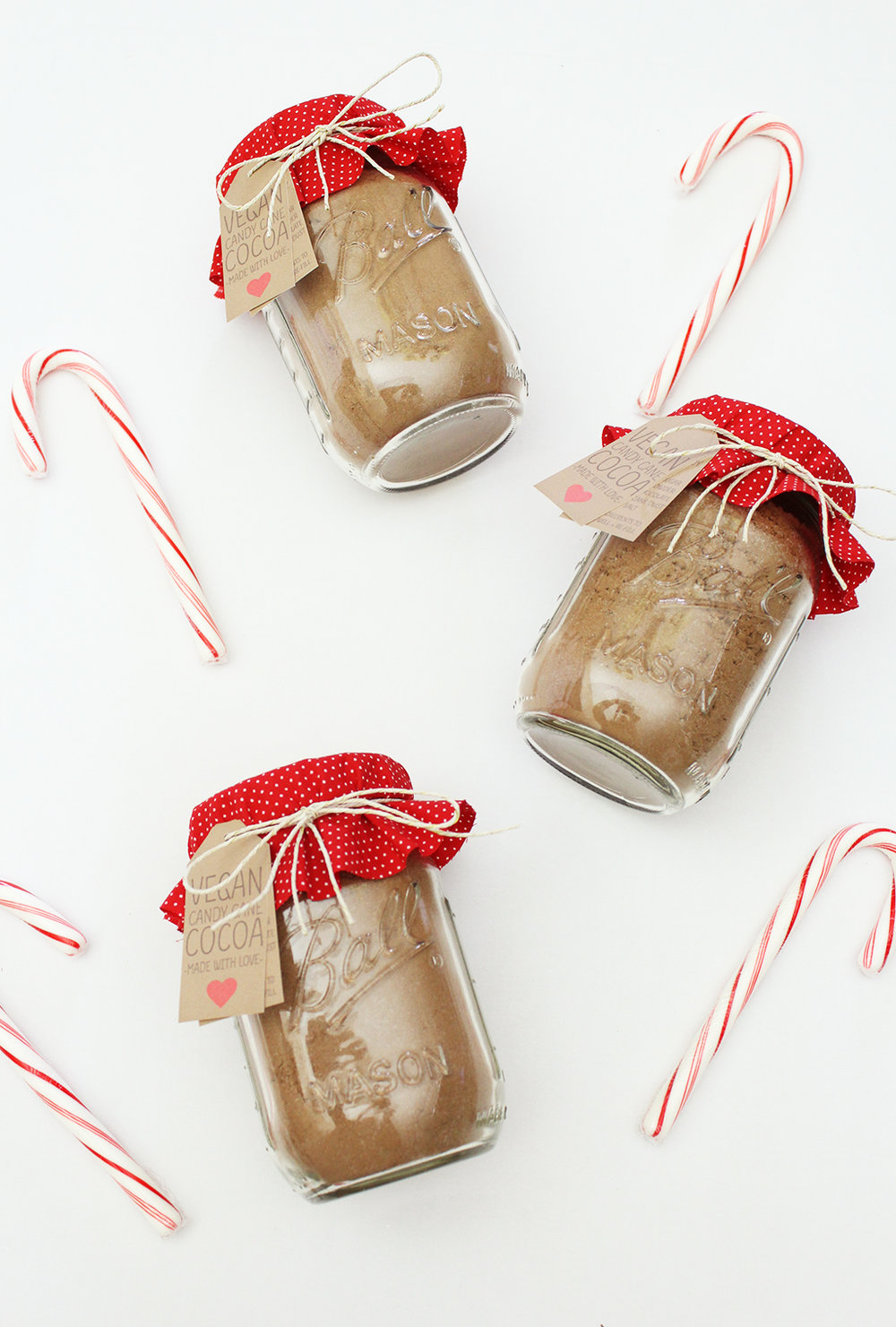 Vegan Candy Cane Cocoa Mix Jars