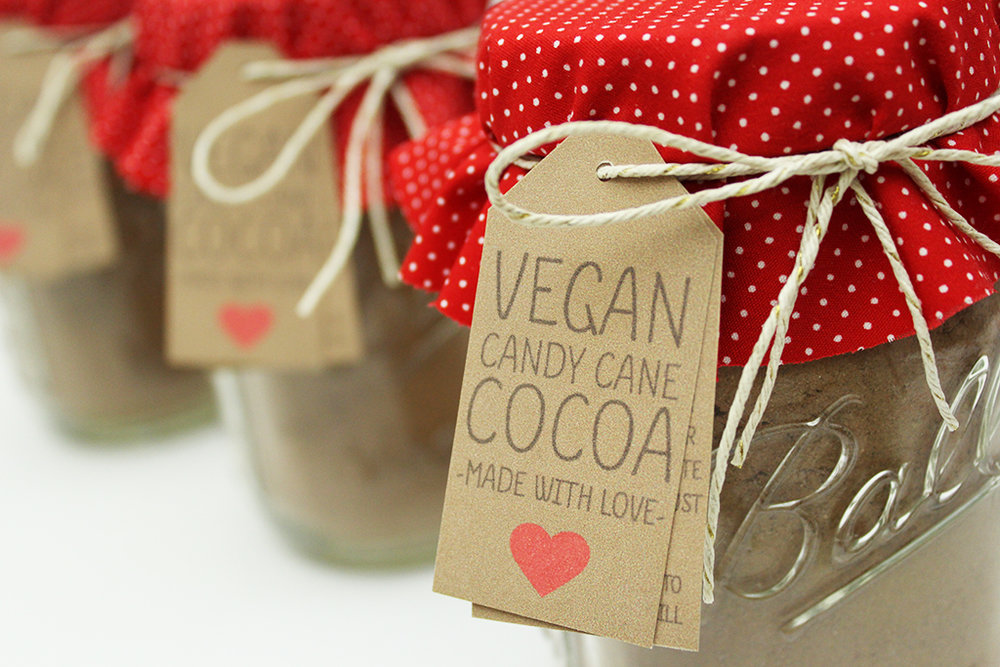 Vegan Candy Cane Cocoa Mix Jar Gift Tags