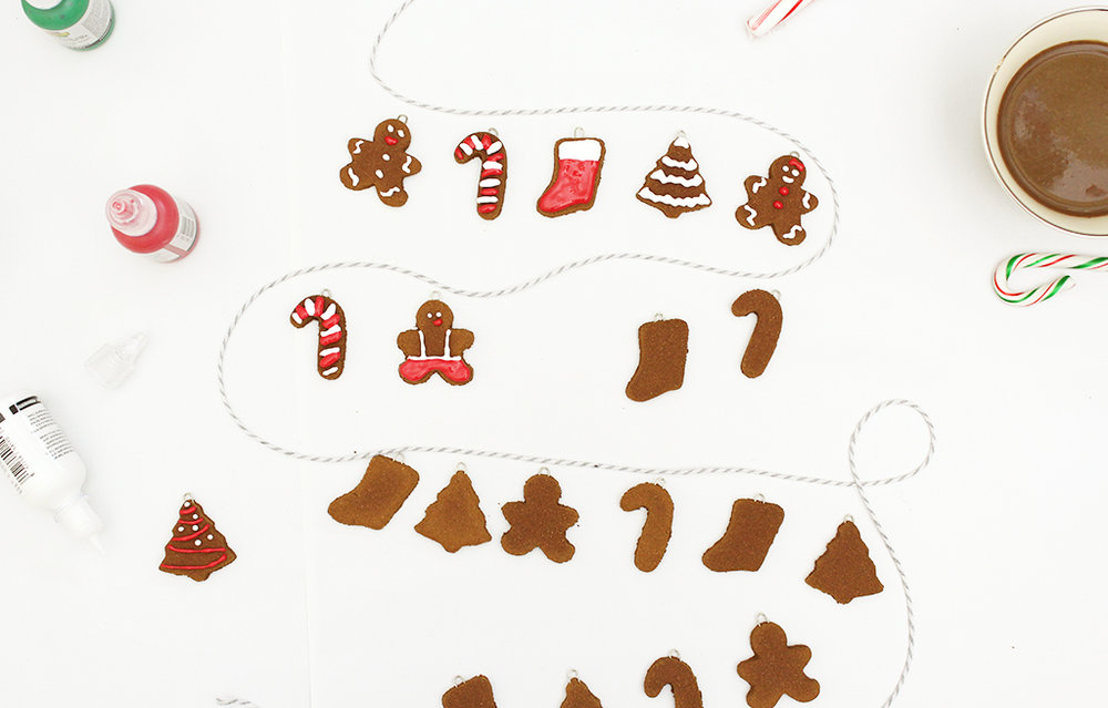 Decorating Mini Gingerbread Cookie Garland