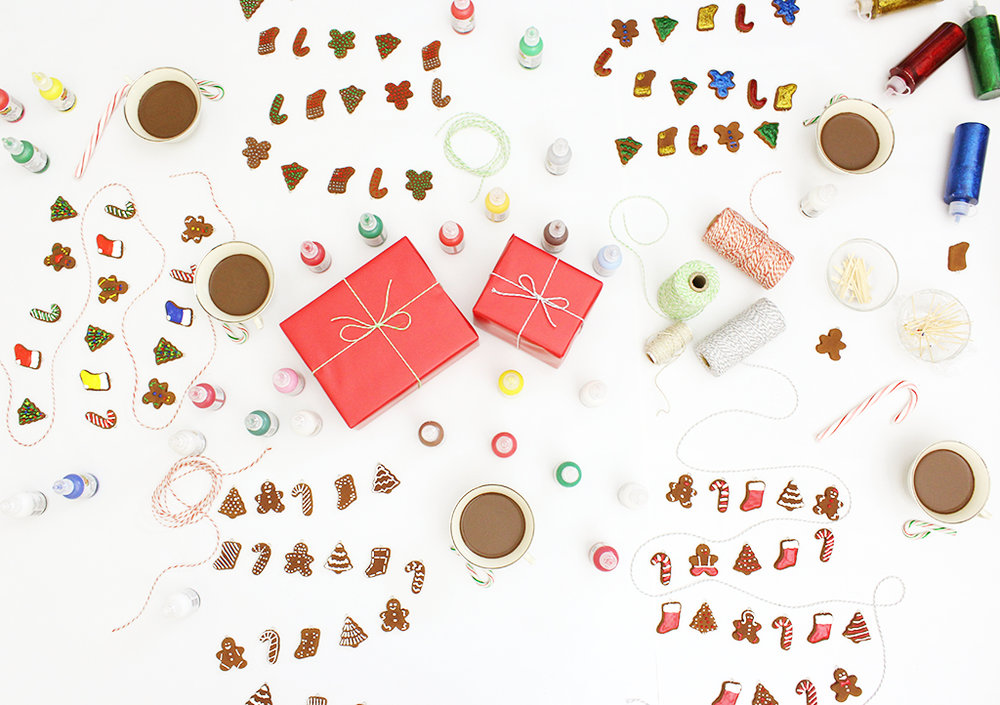 Mini Gingerbread Cookie Garland Holiday Craft Party