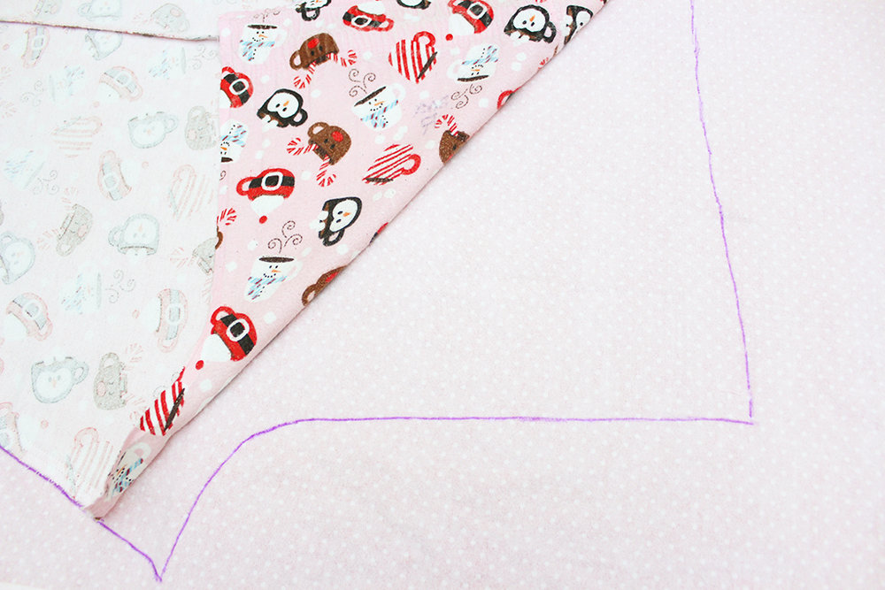 Tracing the old pajama bottom leg panel onto your new fabric