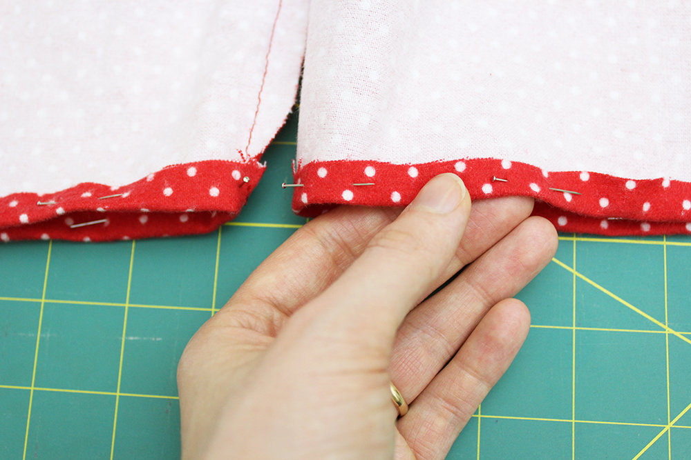 Hemming the bottom of DIY Pajama Bottoms