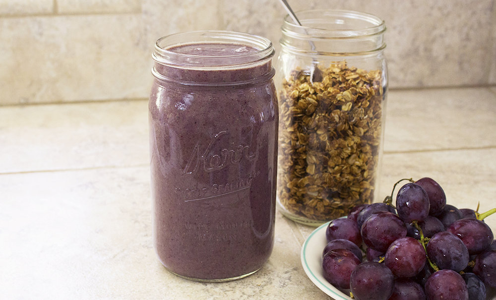 Vegan Blackberry Banana Smoothie with grapes and granola