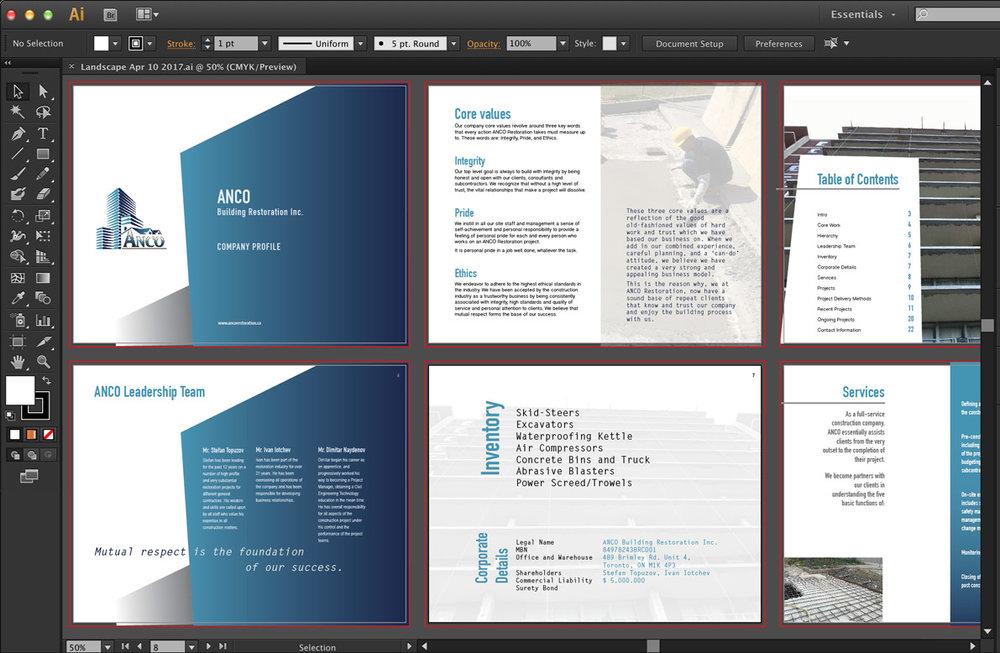 Печатен материал – фирмен профил на строителна компания в Торонто, Канада.