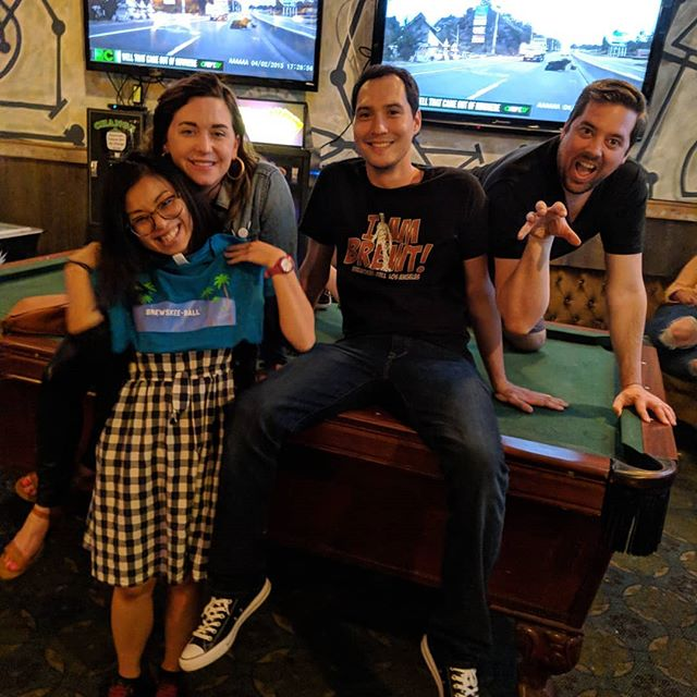 Skeeson 8 week 1: we have three lanes!!!! And rearranged them to be so much better! Also, here's the obligatory late night skeleton crew pic along with some #butts  #brewskeeball #brewskeeballla