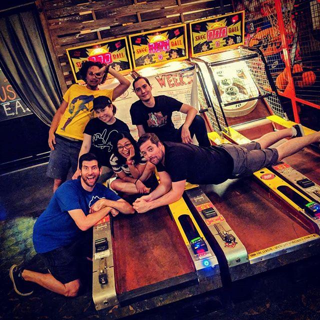 #tbt to last week's late night skeleton crew. Ended the night with some Brewskee-Ball boot camp 💪 #brewskeeballla #brewskeeball