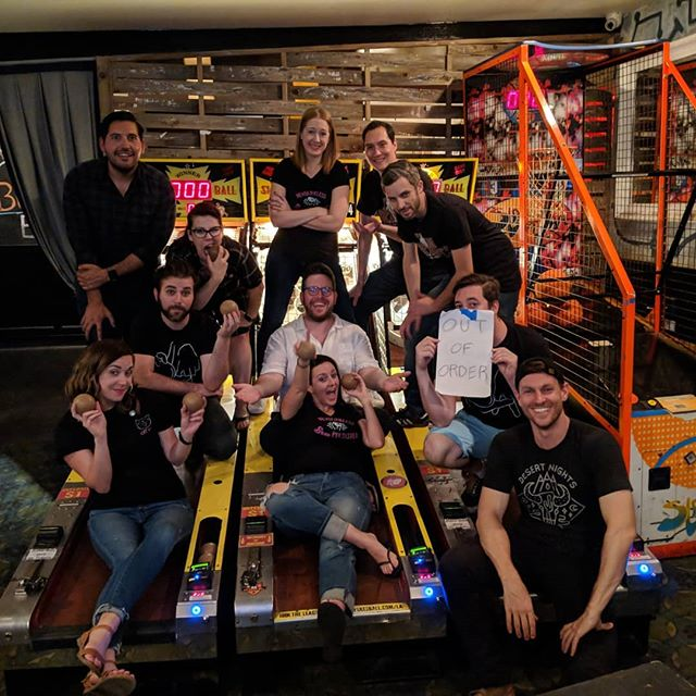 Thank you, @davidherschorn , for always making team photo night so much fun 📸  Everyone had such a great time that they all stuck around for this massive late night skeleton crew pic! #brewskeeballla #brewskeeball