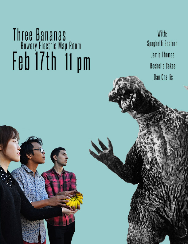 2016 is off to a fun start. After some blizzard hibernation, we're excited to play some shows. First one is on Feb 17th in the Map Room at the Bowery Electric! Click here for some info! Will we triumphantly defeat the impending doom that lurks around the corner in the form of a gigantic monster from the Permian period? We'll just have to find out at the Bowery Electric Map Room. For a full list of shows, visit our SHOWS page.