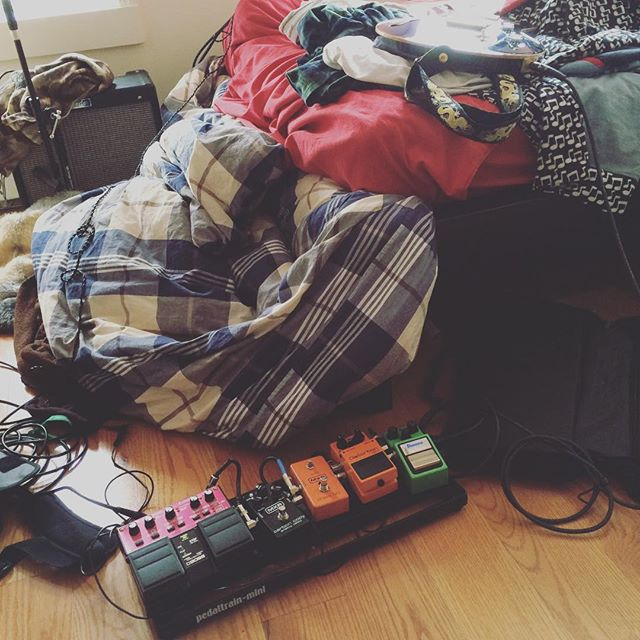 Cooking up something new. #pedals #bedroom #guitar #newmusic #musicians #bklyn #experimental #trio #compositions