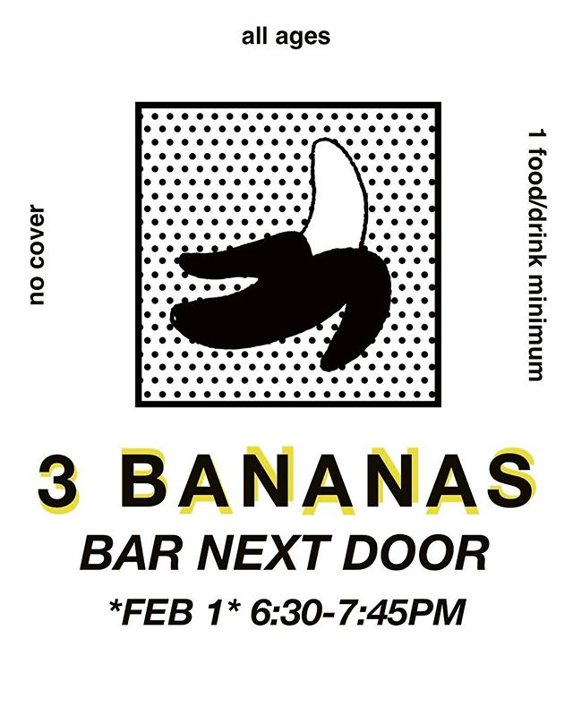 Tomorrow night. Quiet angry vibes. . . . . . . #barnextdoor #impovise #livemusic #guitar #bass #drums #experimentalmusic #bananas