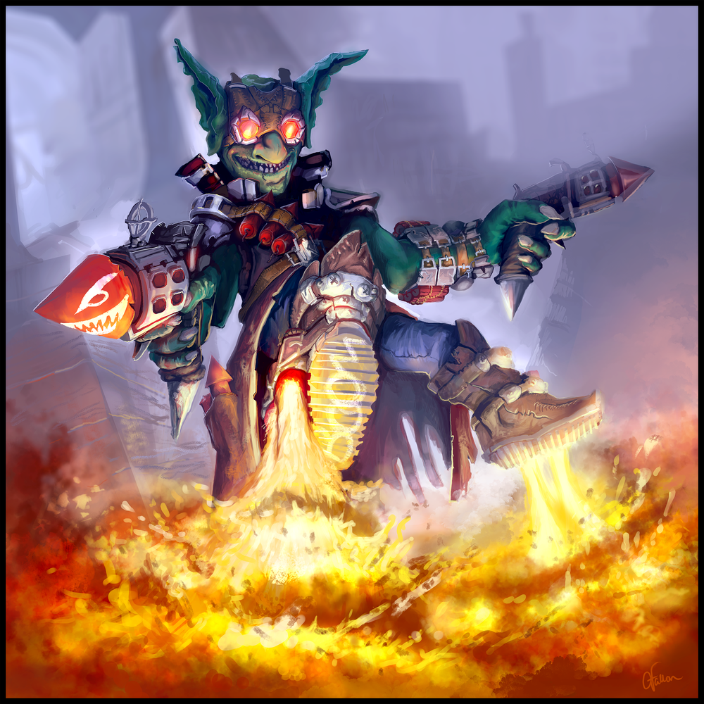 Goblin Rocketeer   My entry into an Hearthstone (Blizzard Ent.) art contest. I didn't win, but I really like the result anyway. The fire was especially fun, but I really think I achieved new heights with my rendering capability in this piece.