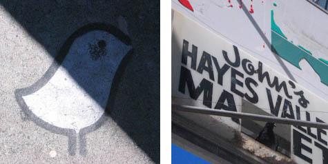 bird stencil/john's hayes valley market sign
