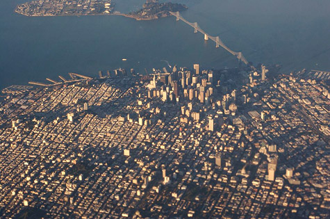 aerial view of san francisco downtown and financial district
