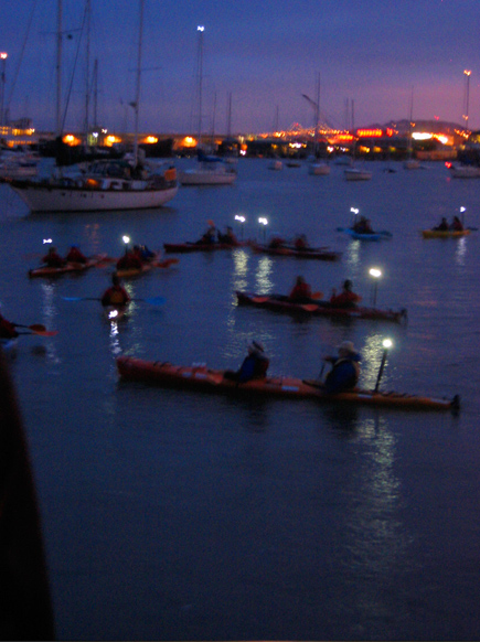 kayakers waiting for fireworks