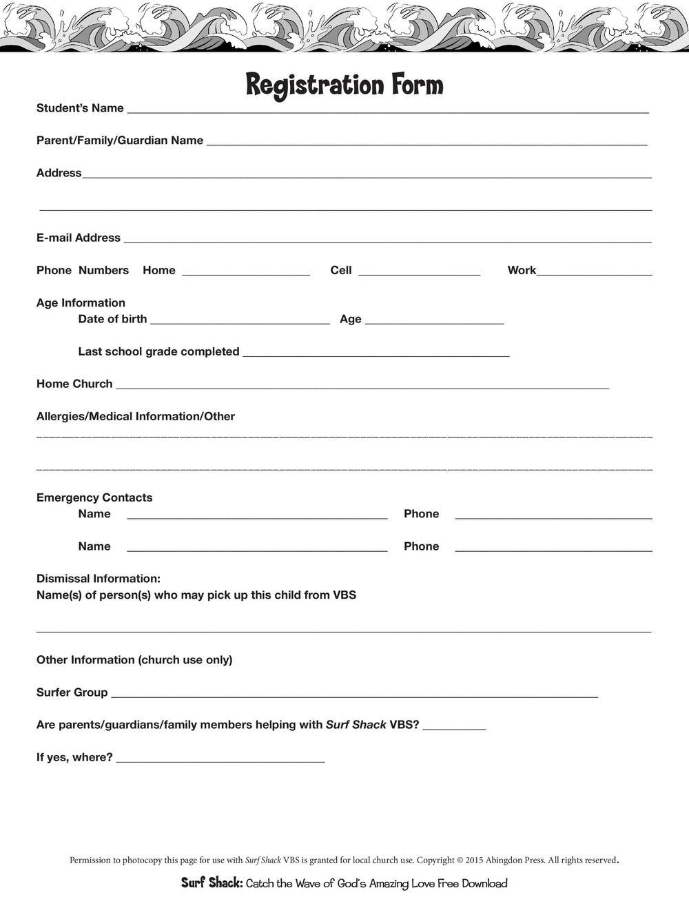 REGISTRATION FORM FOR SURF SHACK VBS (Click to download full version0