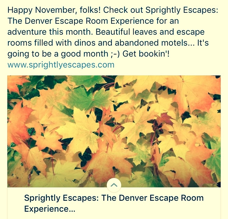 Sprightly Escapes: November Escape Room Adventures