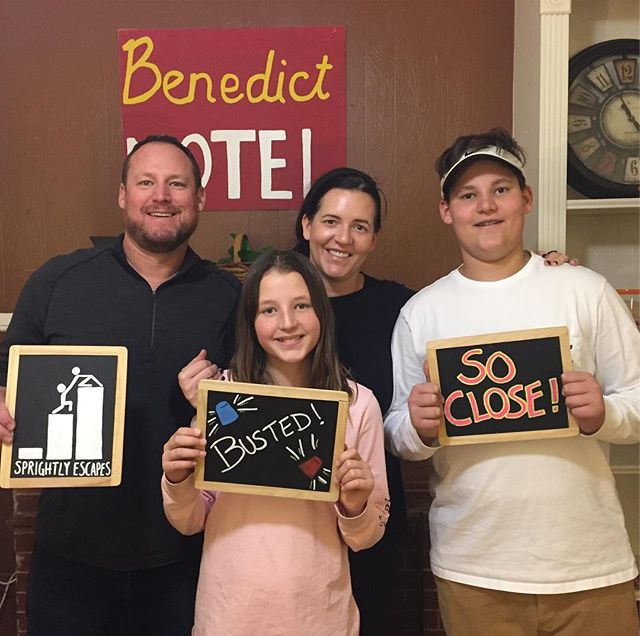 So close! This team had a shot at a successful escape as the last few seconds ticked away. Even though they came up just a bit short in Weekend Get-AWAY, we're glad this family spent part of their three-day weekend with us. Thank you! #sprightlyescapes #denver #escaperoom