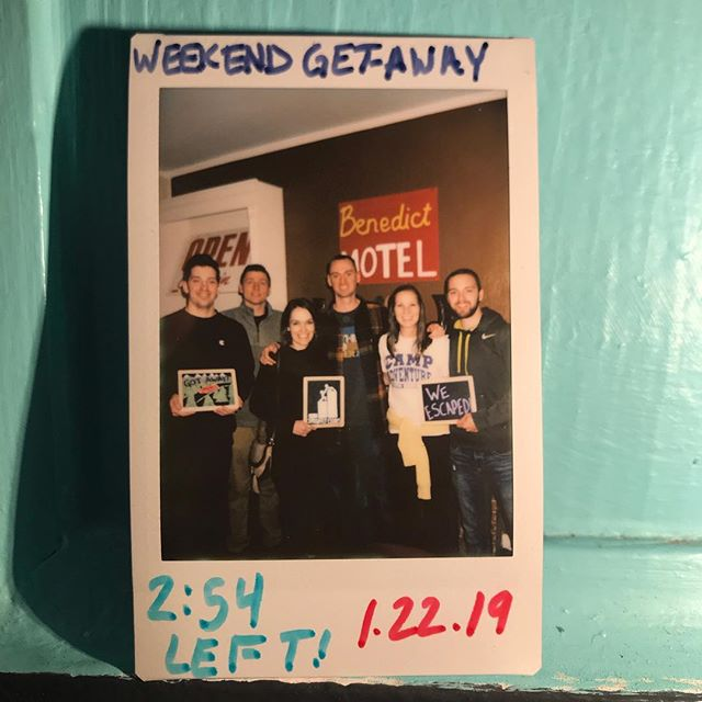 Backed in a corner, this team of six was able to come through in the last few minutes to escape Weekend Get-AWAY! The Feds will have to find some other perps to nab, since this crew slipped out the back of the Benedict Motel. Thanks for your support and we hope to see you again soon! #sprightlyescapes #denver #escaperoom