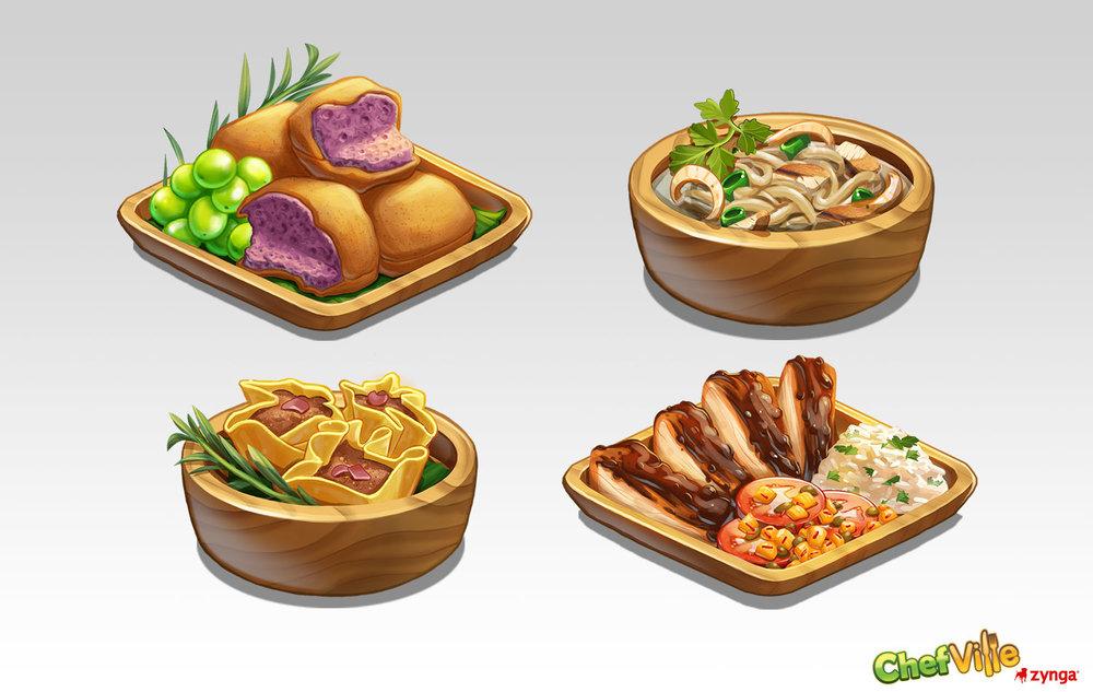 Dish Illustrations    Client: Zynga Role: Senior Artist