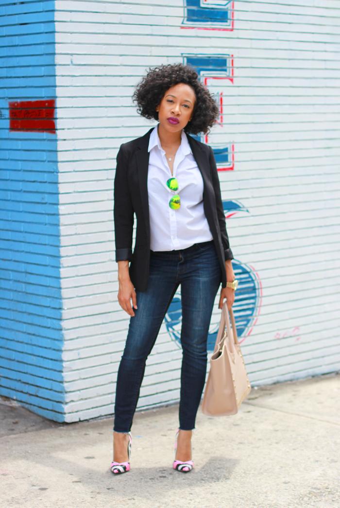 Black Blazer + White Button Up