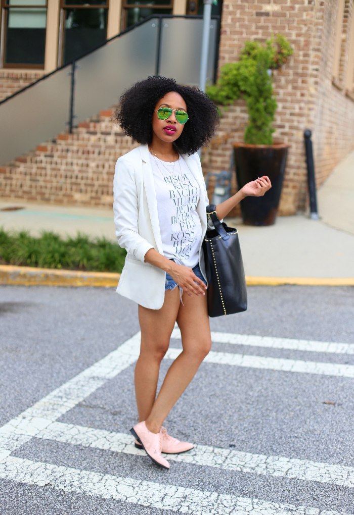 White Blazer + Cutoff Shorts