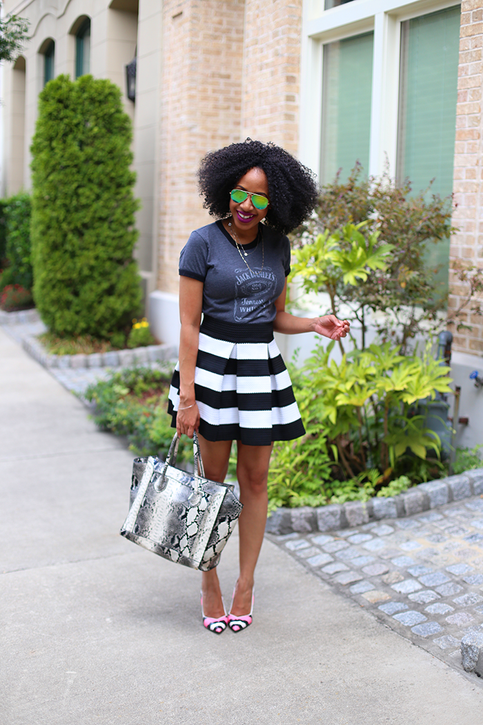 Graphic Tee + Striped Skirt