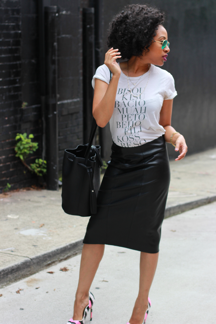 t shirt leather pencil skirt mattieologie