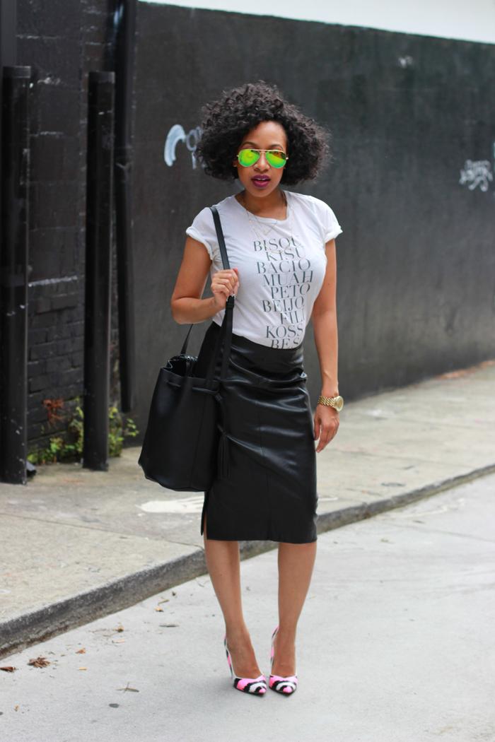 Mattieologie: T-Shirt + Leather Pencil Skirt