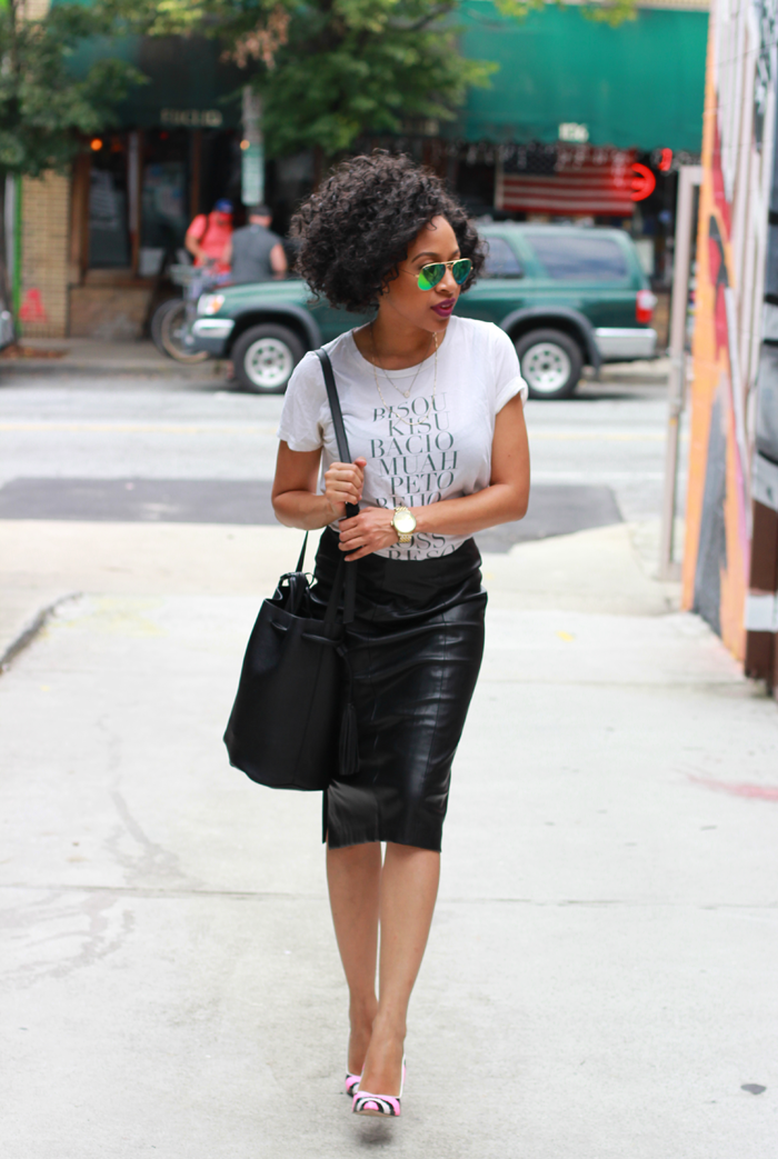 T-Shirt   Leather Pencil Skirt — Mattieologie
