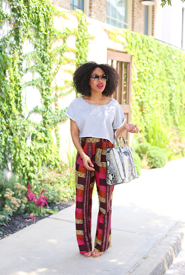 African Print Pants + Crop Top